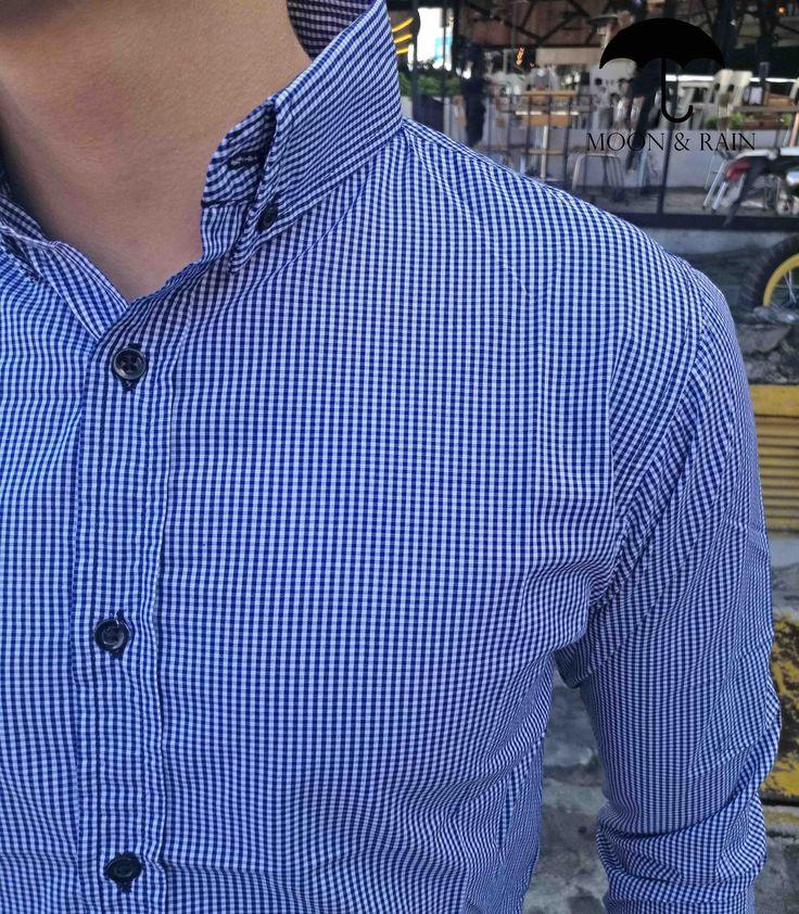 Camisa Cuadros Azul Rey | Slim Fit | Moon & Rain - Tiendas Platino | Envíos todo Mundo Gratis!!