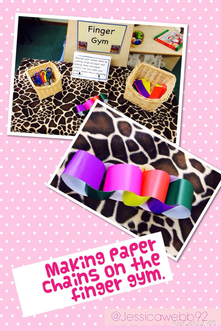 Making paper chains on the finger gym. Lovely maths opportunities too- long, longer etc or making repeated patterns using colours.