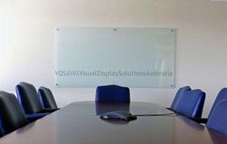 1268mm x 900mm Glass Projection Quality Glass Whiteboard for executive office use.  Opaque white film is perfect for low light 3d interactive projection.  It is also fantastic as an office communication marker board