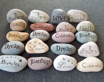 "10 Engraved Stones ""Fancy Stones"" Wedding Stones"