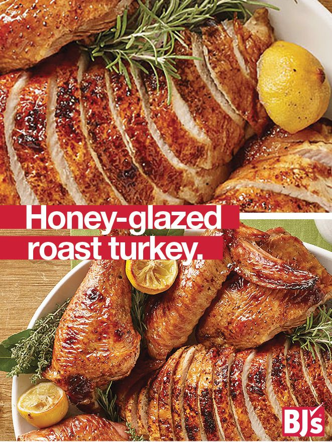 Elegant Turkey Recipe - A glaze made with Wellsley Farms Honey gives this Thanksgiving turkey a beautiful shine. Also great for a holiday party buffet. http://stocked.bjs.com/food/recipes/roast-turkey-honey-glaze