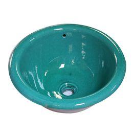 Vasque ronde à encastrer Ondine turquoise diamètre 40 x h 19 cm