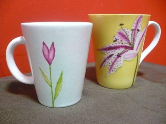Taza de ceramica pintadas a mano vajilla artesanal casa 11576 hand painted ceramics - Vajilla ceramica artesanal ...
