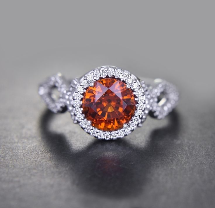 Custom Made Spessartite Ring (from the Garnet Family) Diamonds serted!