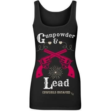 "COWGIRL OUTLAW TANK ""Gunpowder & Lead"" with Heart Bullet Hole and Bright Pink Sixshooter Pistol Graphics on Black Western Tank Top"