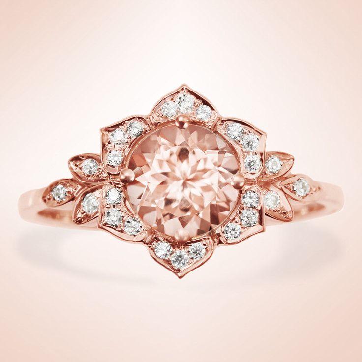 Morganite Engagement Ring Vintage Lily Ring Unique Engagement Ring Leaf Ring Art Deco Ring Flower Ring Morganite Ring (860.00 USD) by SillyShinyDiamonds