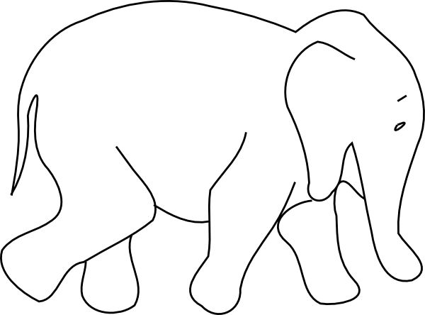 Out Line Drawing Of Animals : Animal outline drawings elephant clip art
