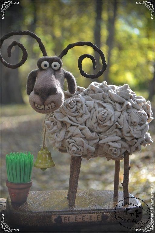 Купить Баранкин Счастливый - бежевый, баран, розы, игрушка ручной работы, прикольный подарок, смешной