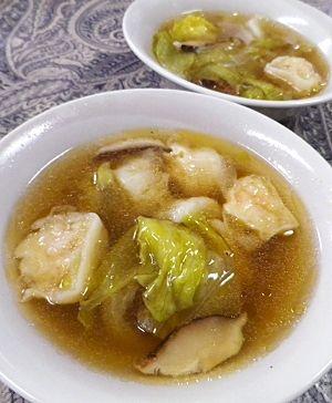 超簡単、冷凍海老シュウマイレタススープ