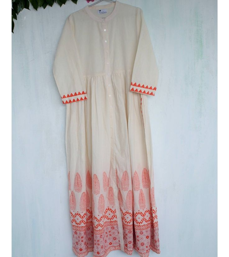 Ivory-Block-Printed Button-Down Cotton Dress with Gather