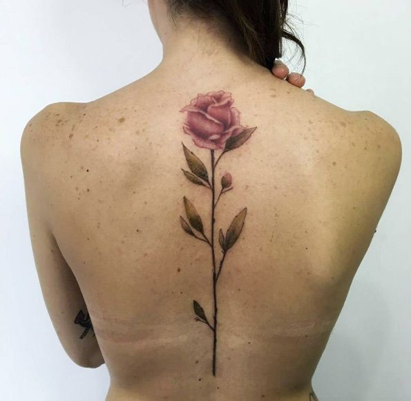 Large rose tattoo on back by Jess