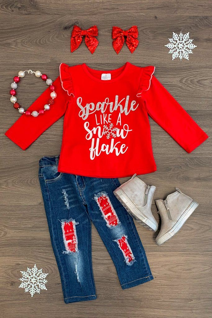 Christmas Clothes Kids Toddler Baby Girls Long Sleeve Snowman Dress Shirt Snowflakes Pants Fall Winter Outfit Set