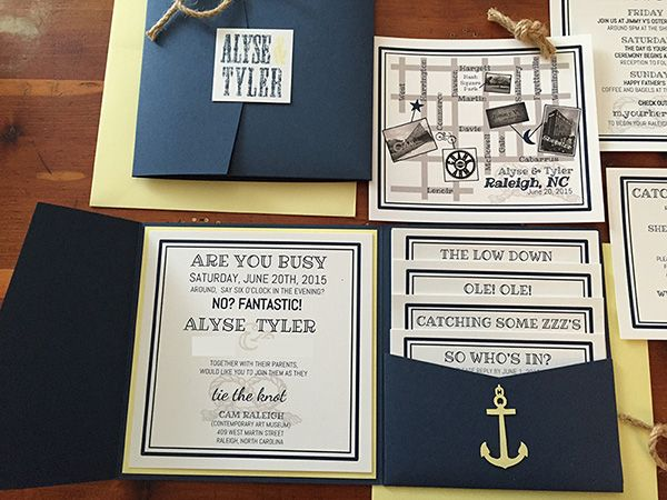 Nautical Knot Navy And Yellow DIY Pocket Wedding Invitation