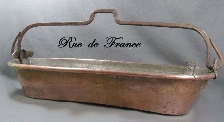 Old French copper kitchen fish poacher