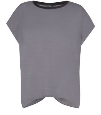Misumi Grey Leather-Look Bow Back T-Shirt
