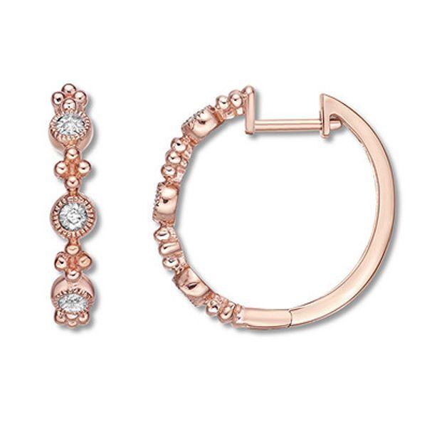 Diamond Hoop Earrings 10K Rose Gold