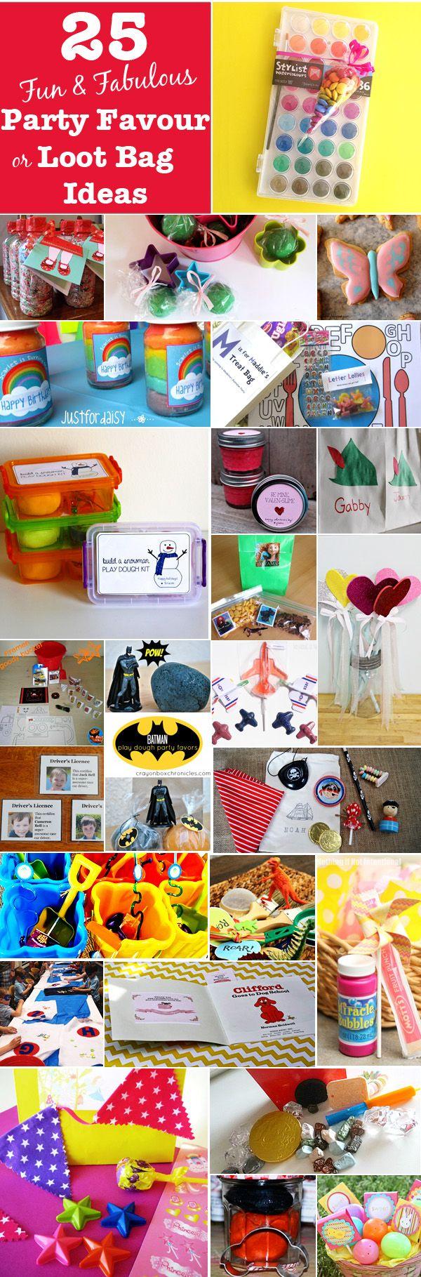 25 Fun & Fabulous Kids Loot Bag/Party Favor Ideas