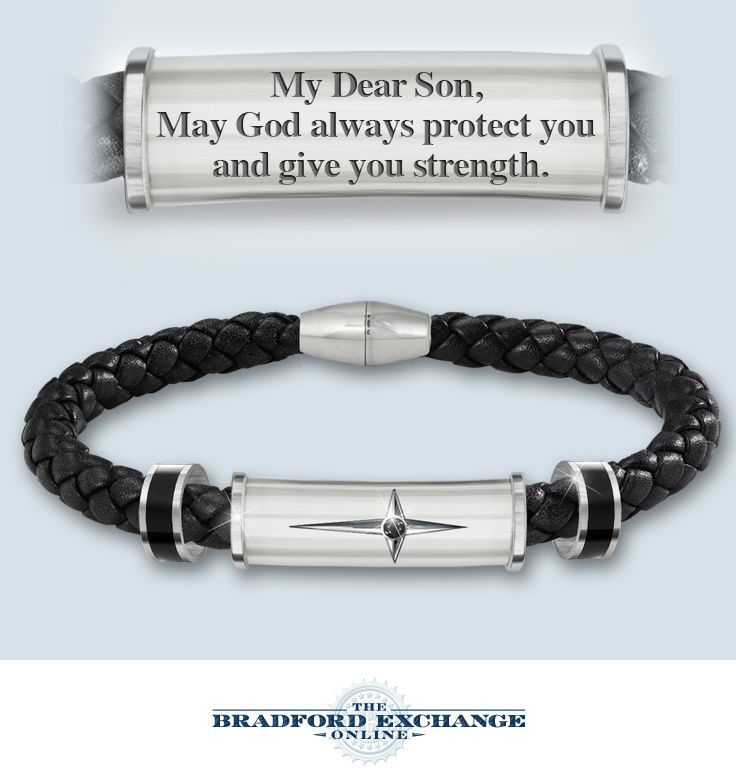 Give your son a meaningful expression of his faith with this engraved religious cross bracelet.