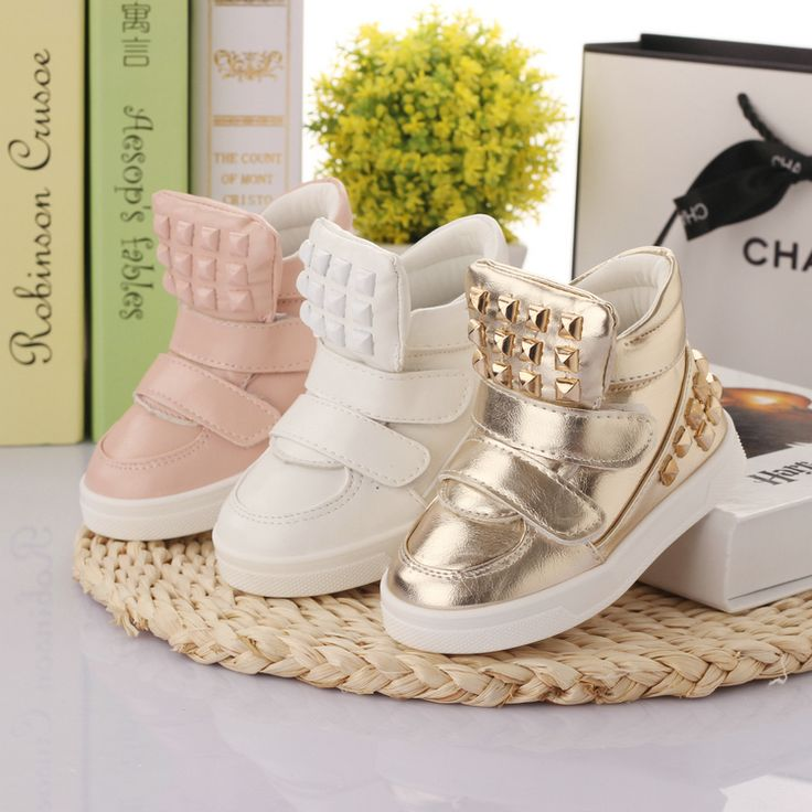 Leather Shoes new 2014 children's shoes for boys girls metallic gold white pink sneakers for baby kids toddler shoe skateboarding first walker