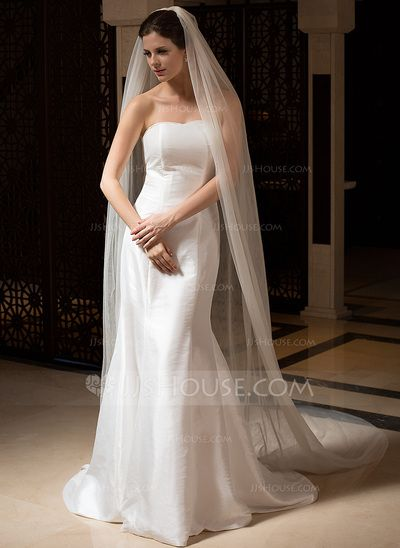 Wedding Veils - $14.99 - Two-tier Cathedral Bridal Veils With Cut Edge (006036027) http://jjshouse.com/Two-Tier-Cathedral-Bridal-Veils-With-Cut-Edge-006036027-g36027