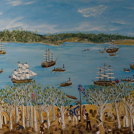 Lizzy Newcomb, Australian naive artist - The Landing 1788.