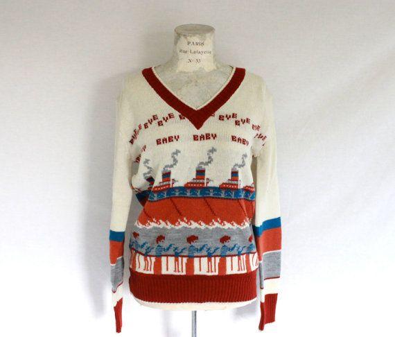 Vintage CollAGEman Sweater Bye Bye Baby by thenunneryvintage, $32.00