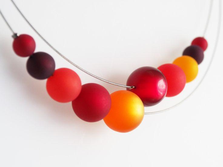 Kette+rot+Polariskette+rot+orange+Polarisschmuck+von+schmuckmanufaktur+koenigsblau+auf+DaWanda.com