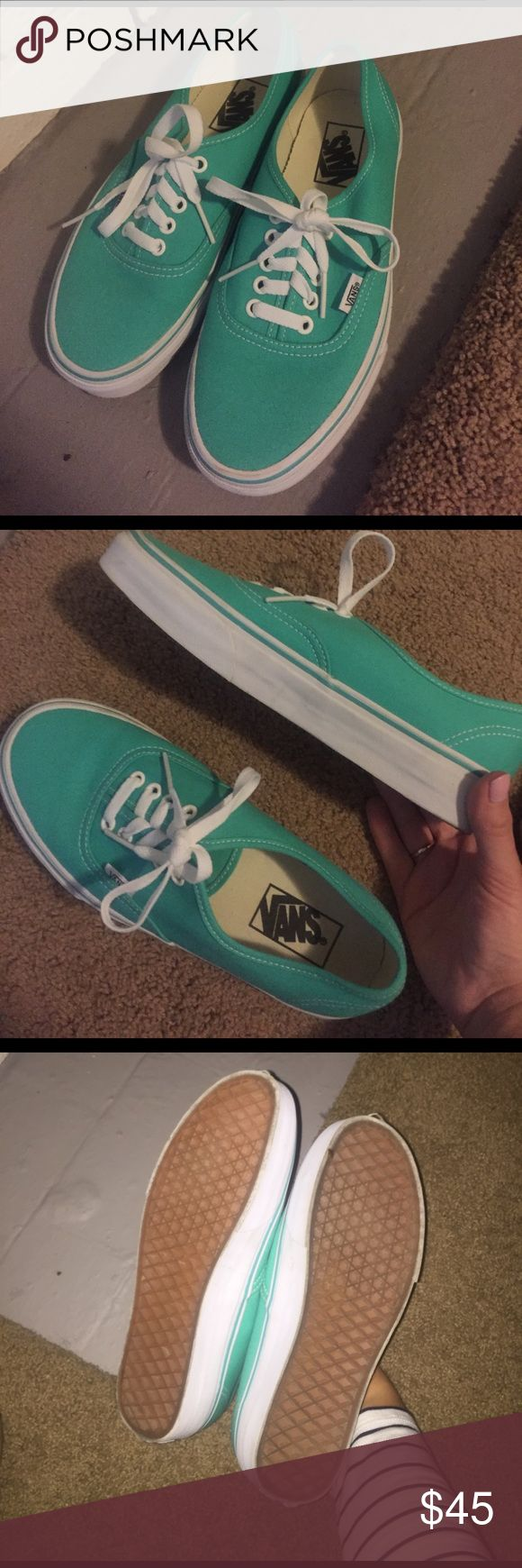 LIKE NEW teal Vans Super cute teal and white Vans, perfect for spring and summer. Never worn- Women's size 8 Vans Shoes