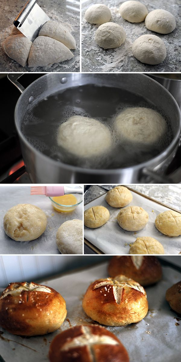 How to make homemade soft pretzel buns for hamburgers on stylingmyeveryday.com