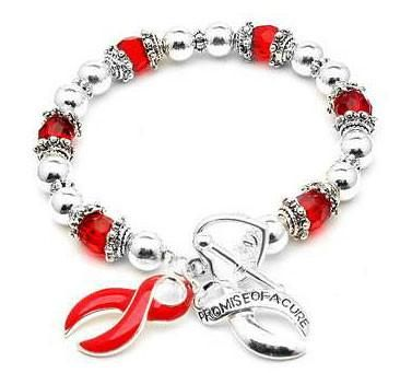 AIDS Awareness Ribbon Red Stretch Heart Toggle Bracelet