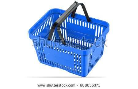 Falling blue empty shopping basket. 3d llustration, 3D render, isolated on white background