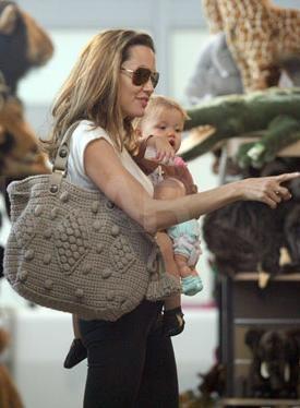 Angelina Jolie was spotted carrying her Gerard Darel Knit Handbag