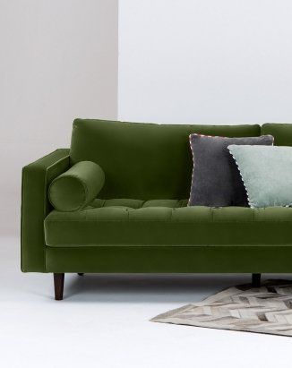 The Scott 3 Seater Sofa in Grass Cotton Velvet. From the MADE.COM with @LivingetcUK collection. £999 | MADE.COM