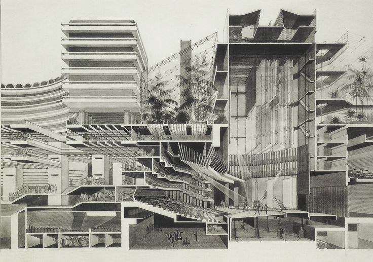 Section through Barbican Centre, London