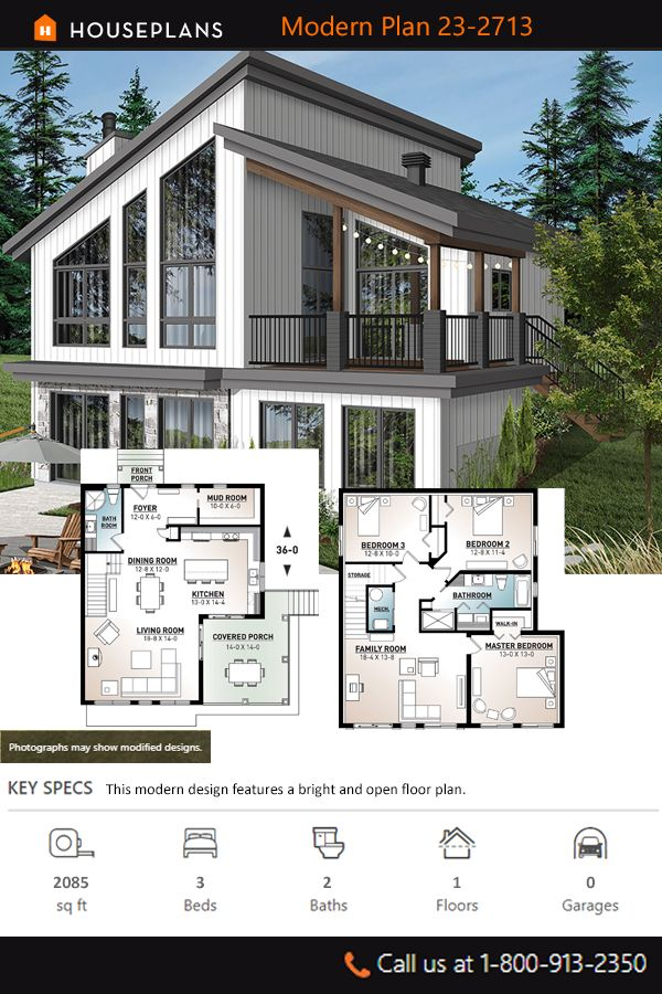 Cottage Style House Plan 3 Beds 2 Baths 2085 Sq Ft Plan 23 2713