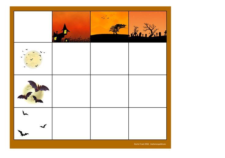 Board for the Halloween bat matrix game. Find the belonging tiles on Autismespektrum on Pinterest. By Autismespektrum