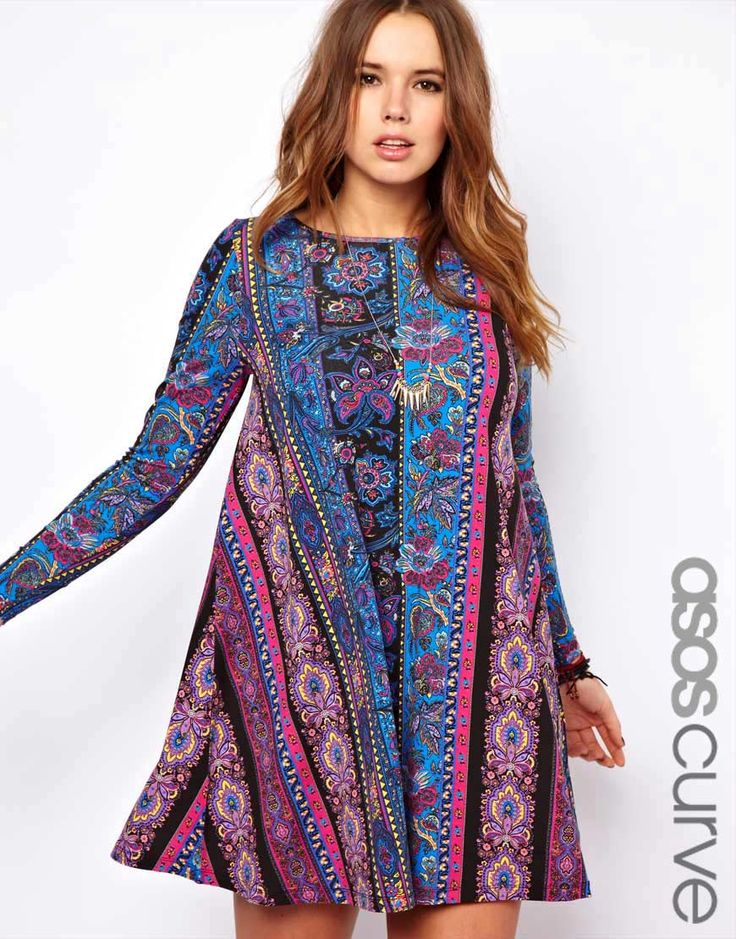 ASOS+CURVE+Swing+Dress+in+Paisley+Stripe