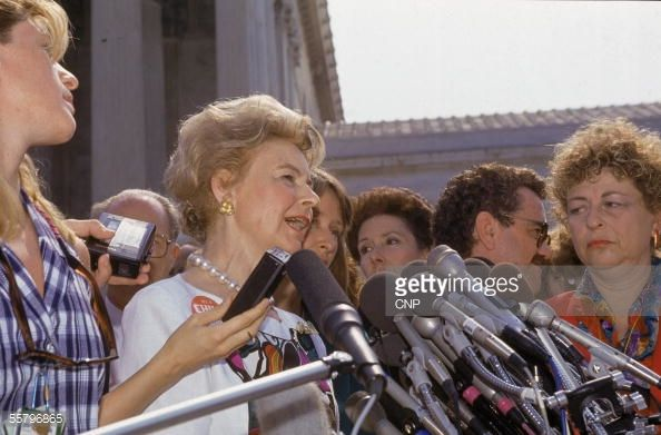 American political activist Phyllis Schlafly delivers a statement to the press following the US Supreme Court's decision in 'Planned Parenthood of Southeastern Pennsylvania v. Casey, 505 U.S. 833,' Washington DC, June 29, 1992.