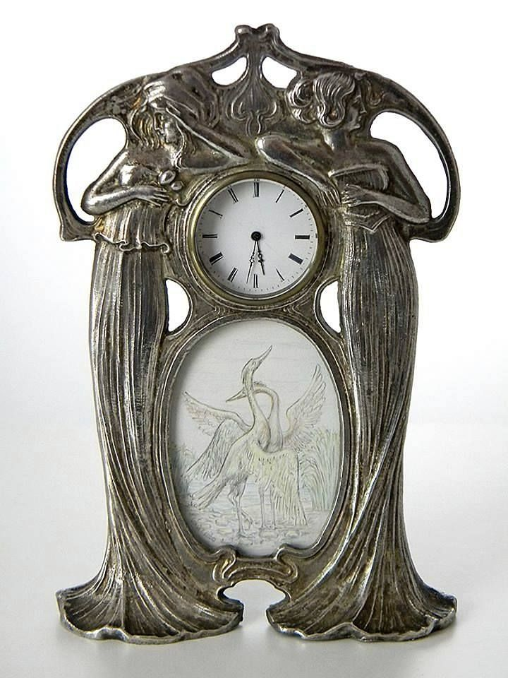 Art Nouveau Table Clock with painting below Glass ca.1900.