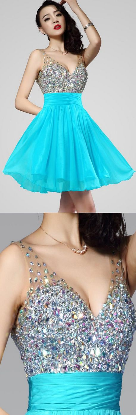 Cyan sky blue short flowing bedazzled all stone bust v neck mesh dress