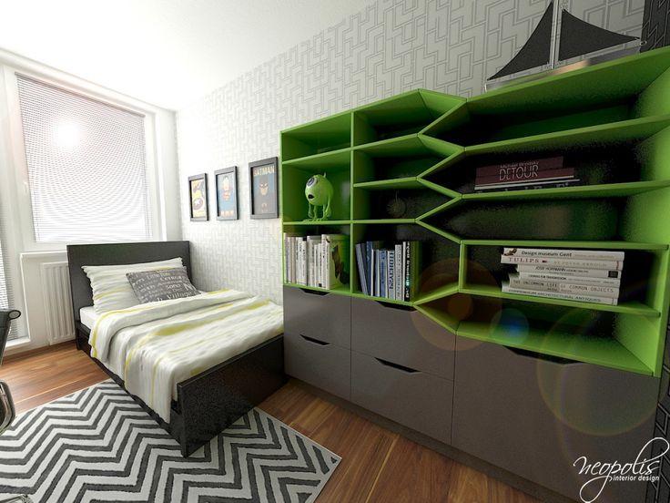Zeleno-šedá chlapčenská izba