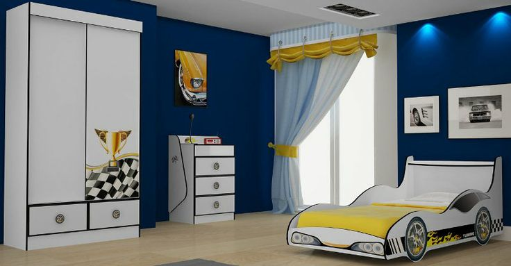 dormitório completo infantojuvenil composto pelo roupeiro Racing, cômoda e cama carro Rally, é o sonho de qualquer garoto. A cama Tuning em formato de carro, o design inovador da cômoda e o roupeiro, todos com adesivos decorativos, deixam o ambiente com clima de competição de corrida. http://lojasrpm.com.br/dormitorio-tuning-gelius-moveis-847.html