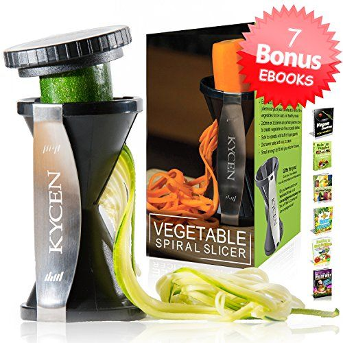 Kycen Spiral Slicer, Vegetable Zoodles Spiralizer With 7 Ebooks & Cleaning Brush, Zucchini & Vegetable Spaghetti Maker, 2015 Amazon Top Rated Salad Serving Sets #Kitchen