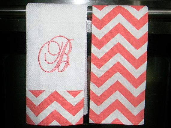 Monogrammed  Kitchen Towels or Hand Towels in Coral / White Chevron via Etsy