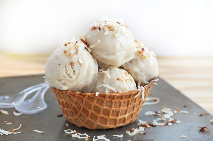 bananas and coconut yummy!!!!  The ultimate two ingredients ice cream made with only roasted bananas and coconut milk!! Indulge in this guilt-free ice-cream all summer long!