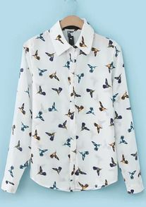 Birds Print Loose Blouse