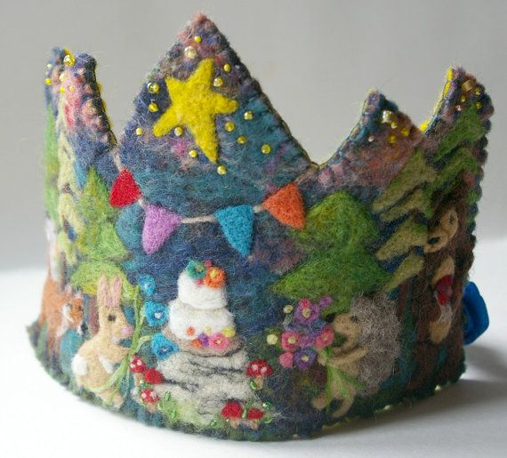 Woodland Birthday Crown: Custom Made for by BeneathTheRowanTree