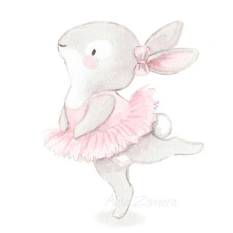 "1,375 Likes, 18 Comments - Illustrator & muralist (@aidazamorailustracion) on Instagram: ""Lámina muy ""Pink"" para decorar habitaciones de pequeñas bailarinas  #childrensillustration…"""
