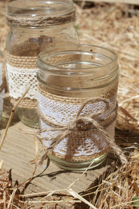 Lace & Burlap Mason Jar Candle Holder Half by BlakeWaresDesigns, $6.00