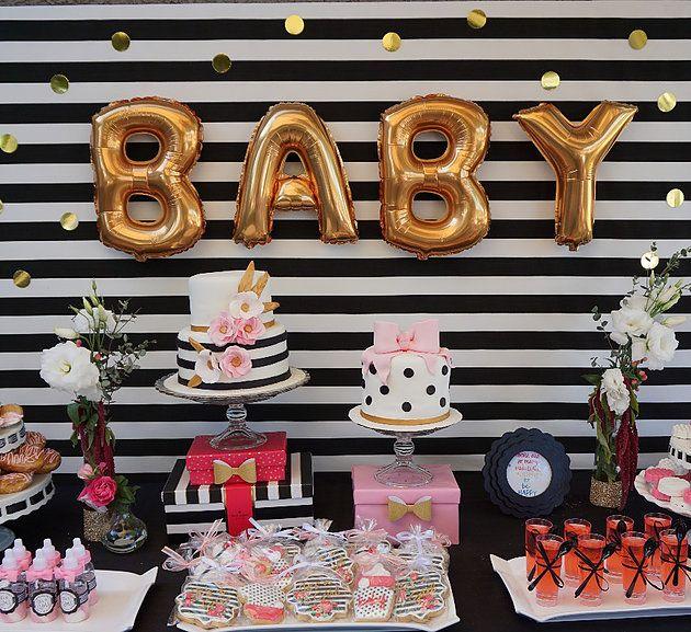 Kate Spade Inspired Baby Shower, dessert table.